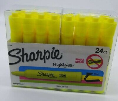 New Sharpie Yellow Smear Guard Highlighters Qty 24