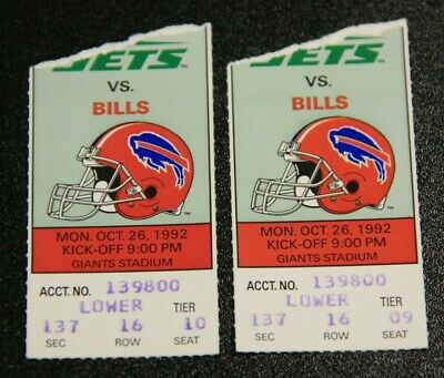 New York Jets Ticket Stub | October 26 1992 | Jim Kelly 2 TD
