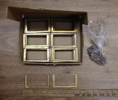 68 Vntg. Brass Label Frames,W/Brass Nails,Card Catalog,Apothecary,General Store