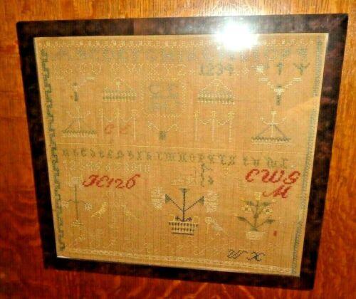 Antique 19th Century Framed Victorian Textile Sampler dated 1847