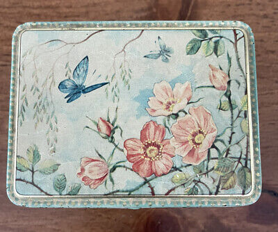 Vintage Floral Butterfly And PinK Flowers With Hinged Lid Made in Holland