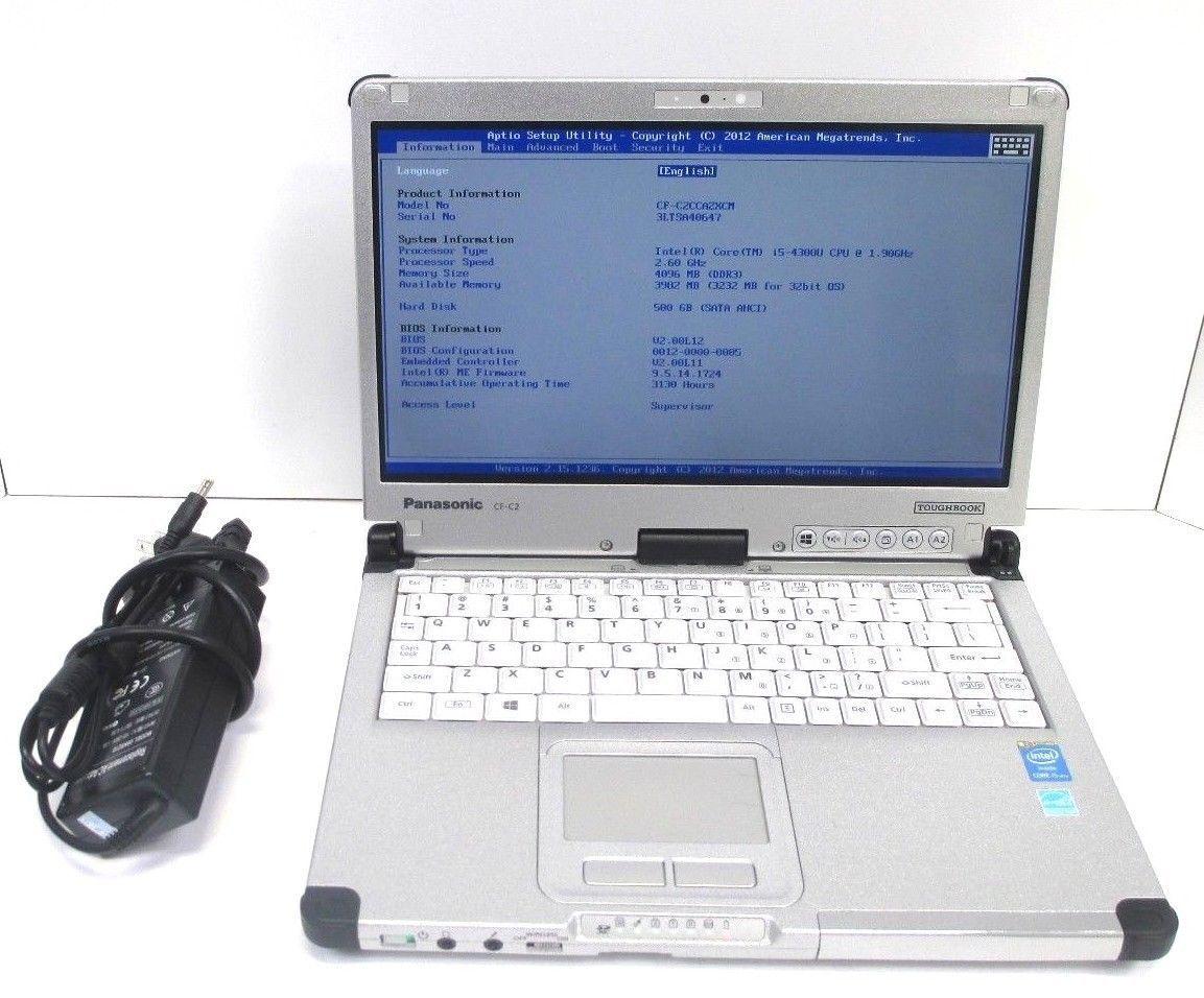"Panasonic Toughbook CF-C2 mk2 12"" Core i5-4300U 8GB 120GB SSD Windows 10 Pro SD"
