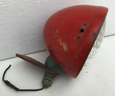 Vtg Hall Ii Red Tractor Auto Truck Headlight Bucket W Glass Lens And Bracket