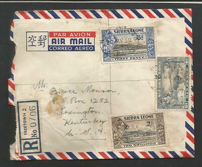 Sierra Leone#177, 180 &182 used on Commercial Registered 1950 Cover to USA
