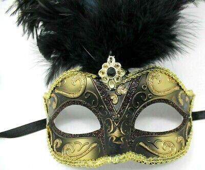 BLACK AND GOLD FEATHER MASK VENETIAN CARNIVAL MASQUERADE BALL EYE PARTY MASK  (Black And Gold Masquerade Ball Masks)