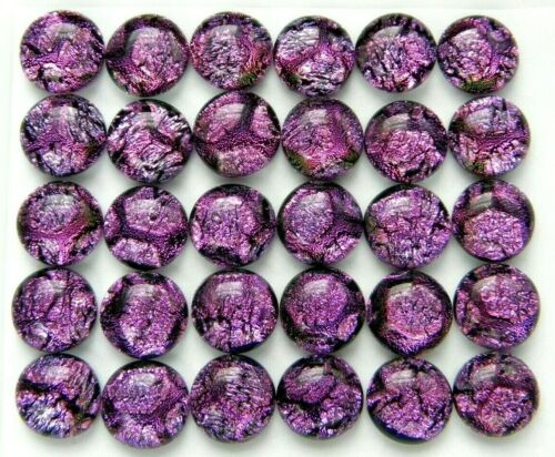 CRACKLE 30 pcs round gorgeous DICHROIC earrings bracelet FUSED GLASS (B18) CABS