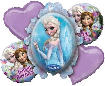 Disney Frozen Birthday 5 Balloons Bouquet Amscan Anna Elsa