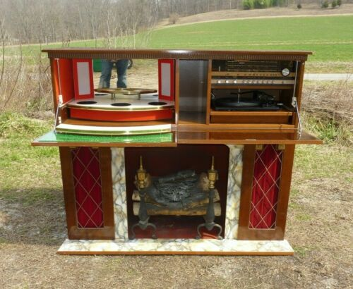 Vtg Mid Century  Lion Prinz Console Stereo Record Player Fireplace Bar Working
