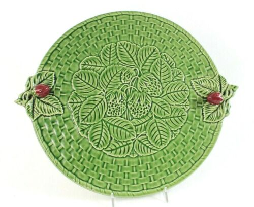 "BORDALLO PINHEIRO GREEN CHEESE TRAY Cake Plate Serving Platter 14.5"" basket"