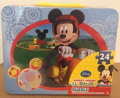 Mickey Mouse Clubhouse puzzle in 3D tin suitcase lunchbox 24 pcs New Sealed
