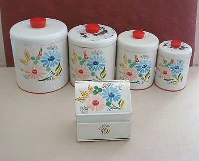 Set of 4 Vintage Ransburg Tin Canisters & Recipe File Box White Flowers 1950's