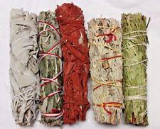SET of 5 Sage Smudge Stick SAMPLER: White, Black, Blue, Cedar, Dragons Blood