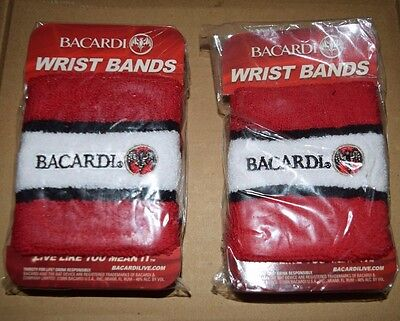 Bacardi Rum Logo Sports Wrist Bands Sweatbands Sports Fitness New 2 Sets of 2