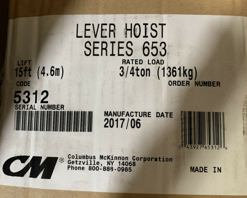 Columbus McKinnon Series 653 Lever Chain Hoist 3/4 Ton w/ 15' lift part# 5313
