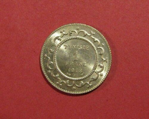 Tunisia 1918 1 Franc Silver Au Coin