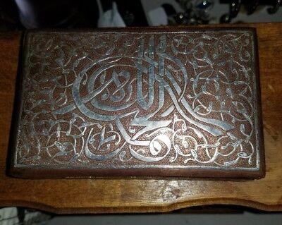 Fine Antique Silver Inlaid solid copper  cigar Box