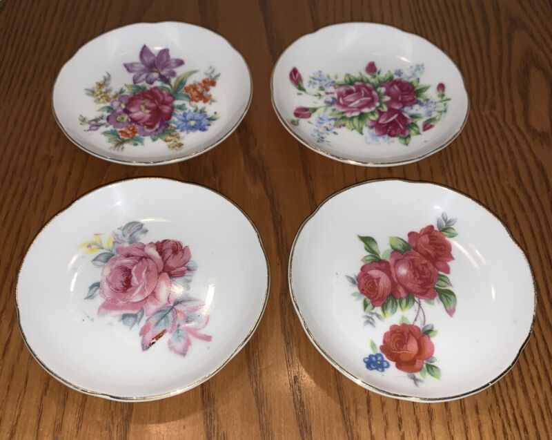 4 Floral Bone China Floral Butter Pat Plates with Gold Trimmed Scalloped Edges