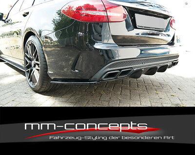 CUP Diffusor Ansatz SCHWARZ Mercedes C Klasse W205 S205 63 AMG Heck Stoßstange