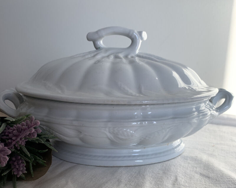 RARE~1800's ANTIQUE White Ironstone COVERED SERVING DISH ELSMORE & FORSTER~WHEAT