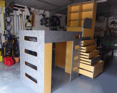 Bunk Bed incl. bookcase, storage drawers, play/storage area