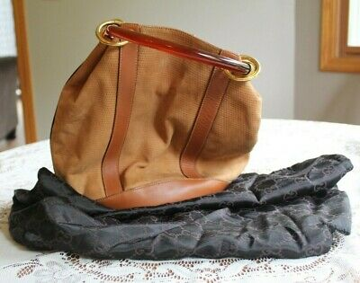 Vintage GUCCI Purse Bucket Style Bakelite Handle with Dust Bag