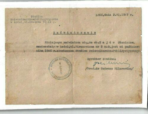 1947 document WW2 Holocaust survivors Jewish TADEUSZ HILAROWICZ Poland Lodz
