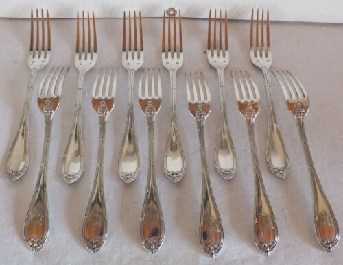 12 Forks Desserts Ribbon Crossover Metal Silver Caillar Bayard