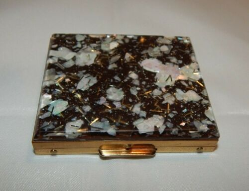 VTG Confetti Lucite on Black Powder Compact Mother of Pearl Flecks Gold Tone