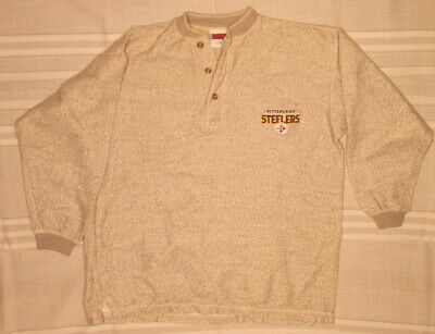 PITTSBURGH STEELERS SHIRT M GRAY HEATHER HENLEY THERMAL BASE LAYER COTTON -