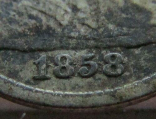 1858/1858 H10c ~ Inverted Overdate ~ FS-302 Seated Liberty Half Dime ~ Rare!!!!