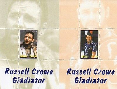 PAIR OF RUSSELL CROWE GLADIATOR CLASSIC MOVIE ANGOLA MNH STAMP SHEETLETS