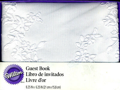 Wilton ELEGANT Modern Lace Guest Book WHITE WEDDING 60 DOUBLE SIDED PAGES