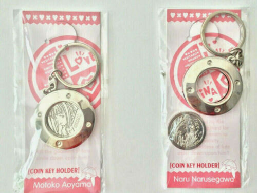LOVE HINA  NARU + MOTOKO COIN HOLDER KEYCHAINS + COIN ANIME SEALED Japanese