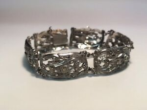 Antique Birks sterling silver bracelet encrusted with gemstones