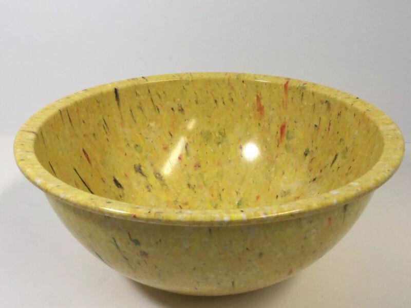 Vintage Mid Century Retro Yellow Splatter Confetti Melmac Mixing Bowl, Large.