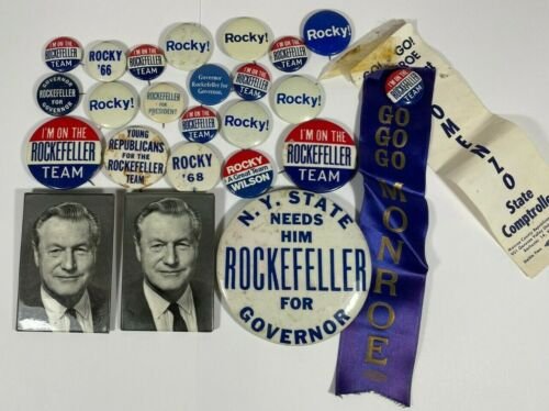 """Lot of 24 Nelson """"Rocky"""" Rockefeller Campaign Pinback Buttons & Photo Pins"""