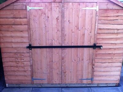 GARDEN SHED LOCK BAR, GARAGE DOOR SECURITY - HEAVY DUTY STEEL SAFETY DEVICE