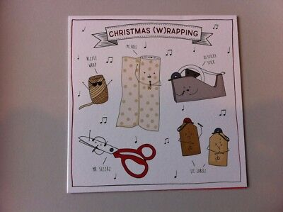 FUNNY CHRISTMAS (W)RAPPING CARD, OPEN DESIGN FOR FRIEND, MODERN, MUSIC RELATED ()