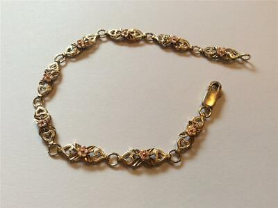 """10K Yellow Tri-Color Yellow Gold Flower & Heart Bracelet 7"""" x 3/8"""" 10k Tri Color Bracelet"""