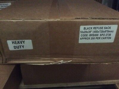 400 x Heavy Duty Black Bin Bags Binliners Refuse Sacks - 2 Boxes Of 200 Liners