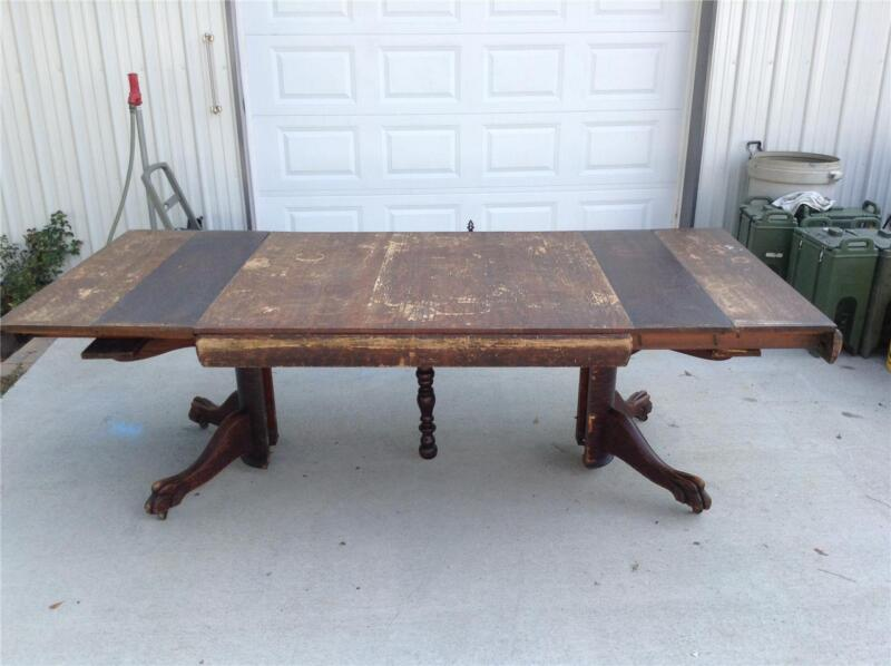 SOLID OAK ANTIQUE CLAW FOOT, BANQUET TABLE
