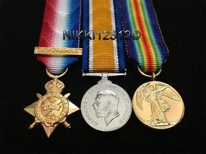 MINIATURE-WW1-1914-STAR-WITH-BAR-BWM-VICTORY-MEDAL-TRIO-MOUNTING-OPTIONS