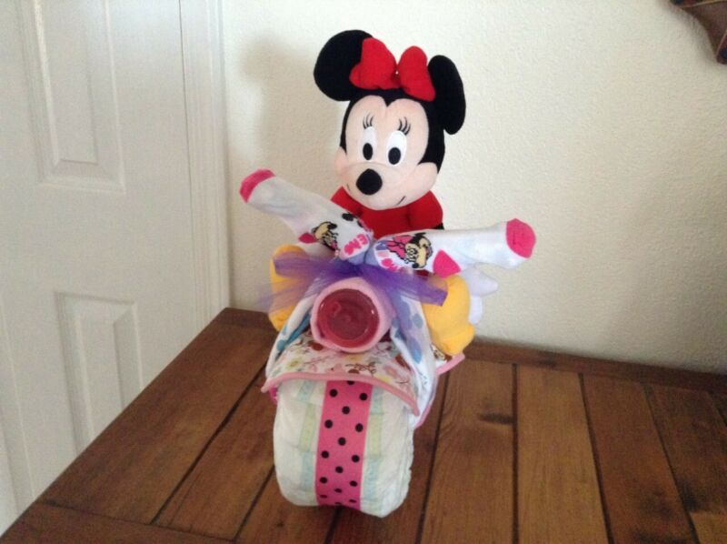 Minnie Mouse Motorcycle Diaper Cake