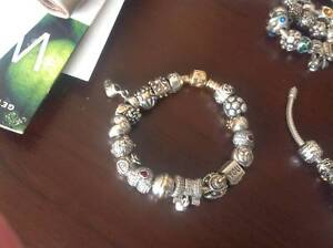 AUTHENTIC PANDORA BRACELET WITH  TWO TONE CHARMS Matraville Eastern Suburbs Preview