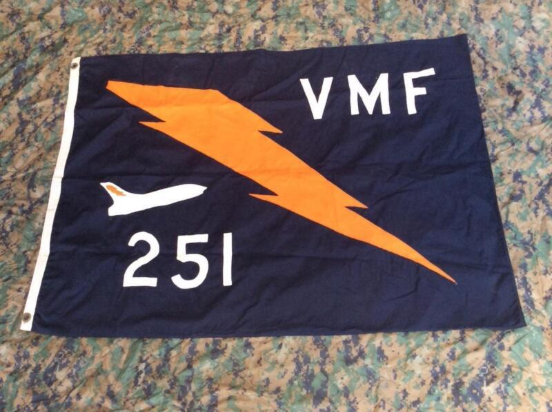 Vintage Vietnam Cold War USMC VMF 251 Fighter Squadron Ready Room CVA 68 Flag