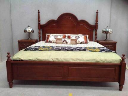 King Bed and Bedside Tables - Antique Style
