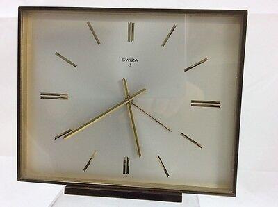 Large Art Deco Style Swiza 8 Day Alarm Clock Gold Colour