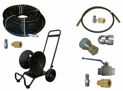 Sewer Jetter Cleaner Kit - Ball Valve 150 X 38 Hose Reel And Nozzles