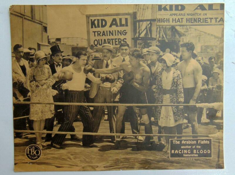 RARE Silent Film Lobby Cards Kid Ali Boxing The Arabian Fights Racing Blood