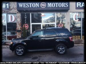 2009 Ford Escape LIMITED*AWD*V6*SUNROOF*LEATHER*PWR GROUP*